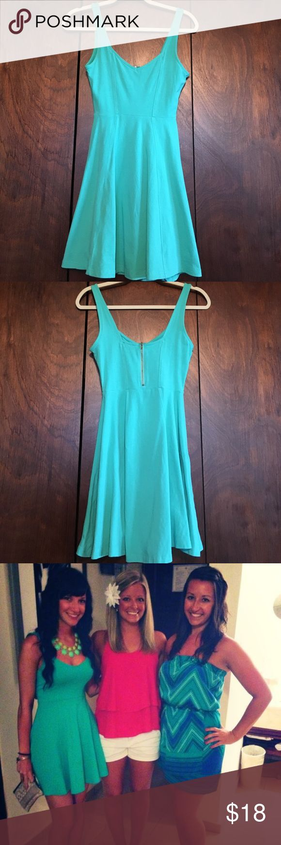 Turquoise / Aqua Color Dress Express Dress; Size: X Small. In good condition Express Dresses Mini