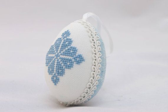 Easter egg linen blue with cross stitch letter handmade by RedPin