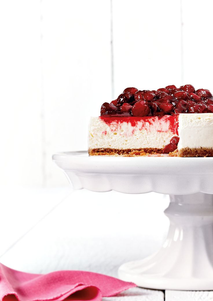 Classic cheesecake is topped with a chunky sour cherry topping in this dessert favourite. The time it takes to bake on low heat helps keep the filling silky smooth. Cheesecake is easiest to cut when cold, so allow ample refrigerating time before serving.