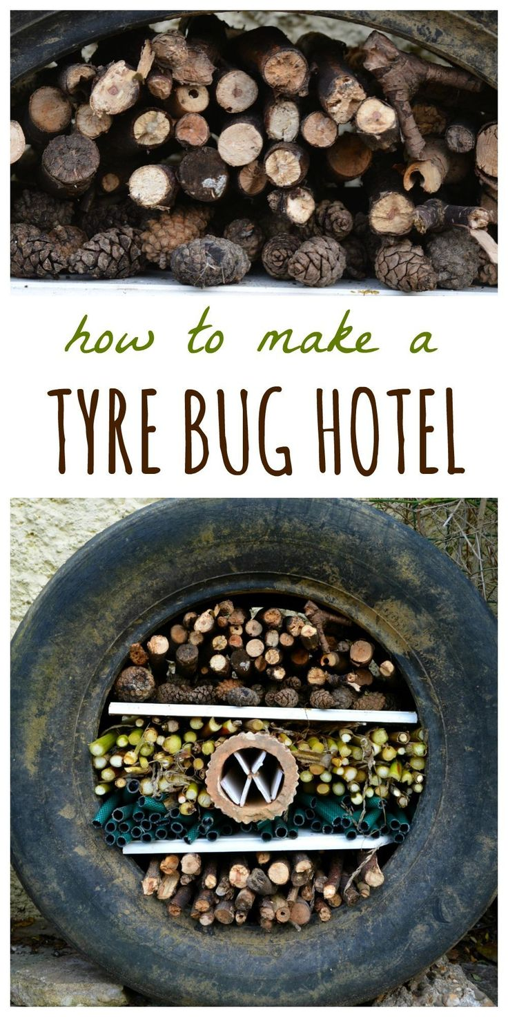 "Create a recycled tyre bug hotel - a great autumn family activity. Find a full tutorial for the tyre bug hotel here and visit the collaborative board ""DIY bloggers for Volkswagen"" for more inspiring DIY instructions and ideas: https://www.pinterest.com/volkswagen/diy-bloggers-for-volkswagen"
