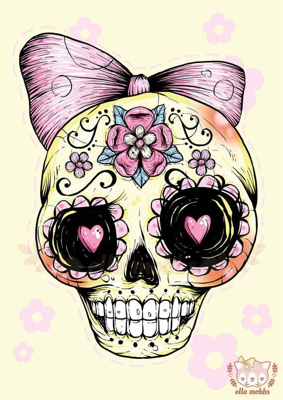 Instant digital download diy printable gothic victorian for Pretty skull tattoos