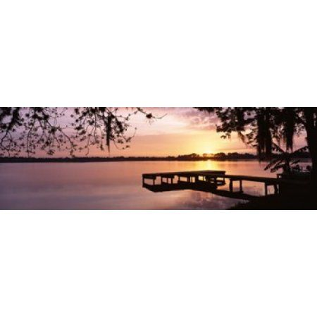 USA Florida Orlando Koa Campground Lake Whippoorwill Sunrise Canvas Art - Panoramic Images (36 x 12)