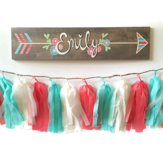 This beautiful hand lettered and hand painted personalized wooden name sign makes a thoughtful and unique christmas gift, babyshower gift and the perfect piece of nursery wall art to adorn the little ones wall!  Measures approximately 5 x 24, 1/2 thick on stained wood. COLORS- shades of turqoise, white, coral, pink and mint green. Comes ready to hang with a sawtooth hanger on back.  CUSTOM - This painting can be custom made in the colors of your choice. Feel free to contact me with any q...