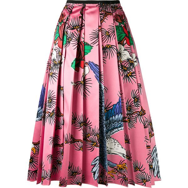 Gucci floral print pleated skirt ($3,800) ❤ liked on Polyvore featuring skirts, gucci, floral print skirt, multi color skirt, pleated skirt and pink skirt