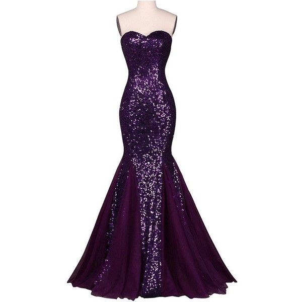 Aiyana Purple Mermaid Sweetheart Long Bridesmaid Dresses Sequins... (86 CAD) ❤ liked on Polyvore featuring dresses, gowns, long sequin gown, purple bridesmaid dresses, long sequin dress, purple party dresses and purple gown