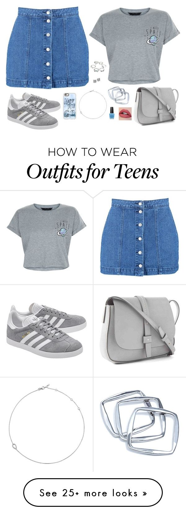 """""""Untitled #1141"""" by sophia-etr on Polyvore featuring Boohoo, New Look, adidas Originals, Casetify, Jack Vartanian, GUESS by Marciano, Kate Spade, Gap and OPI"""