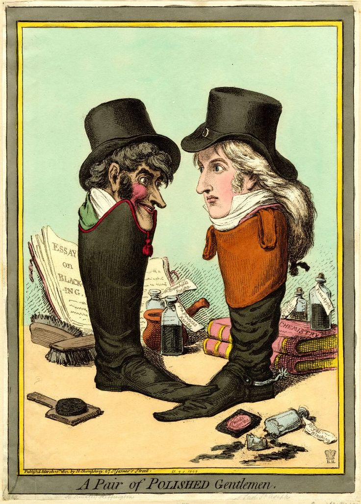 1801 March 10th. 'A Pair of Polished Gentlemen.' Hand-coloured etching by James Gillray britishmuseum.org