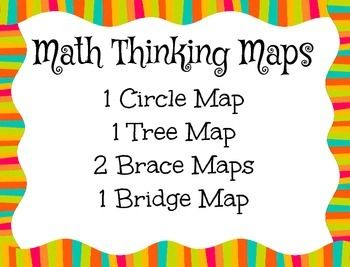 These posters are a great way to incorporate thinking maps across math curriculum. Included in your download: 1 Circle Map: Ways to make 461 Tree Map: Math Key Words - addition, subtraction, multiplication, & division2 Brace Maps: Place value & fractions 1 Bridge Map: Related multiplicationThese posters are also included in my Guided Thinking Maps & Sample Posters BUNDLE.