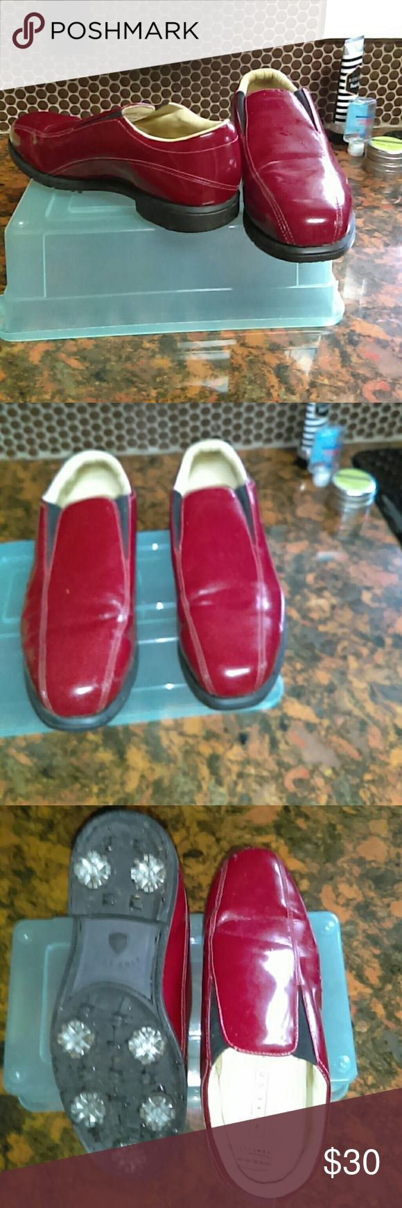 Women's NIKE GOLF SHOES Nike women's golf shoes with metal cleats.  Deep red patent leather...Great condition. Nike golf Shoes Athletic Shoes