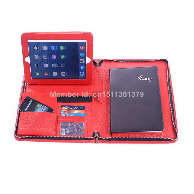 Zippered Genuine Leather Portfolio for Apple iPad Tablet Red Color $105.99