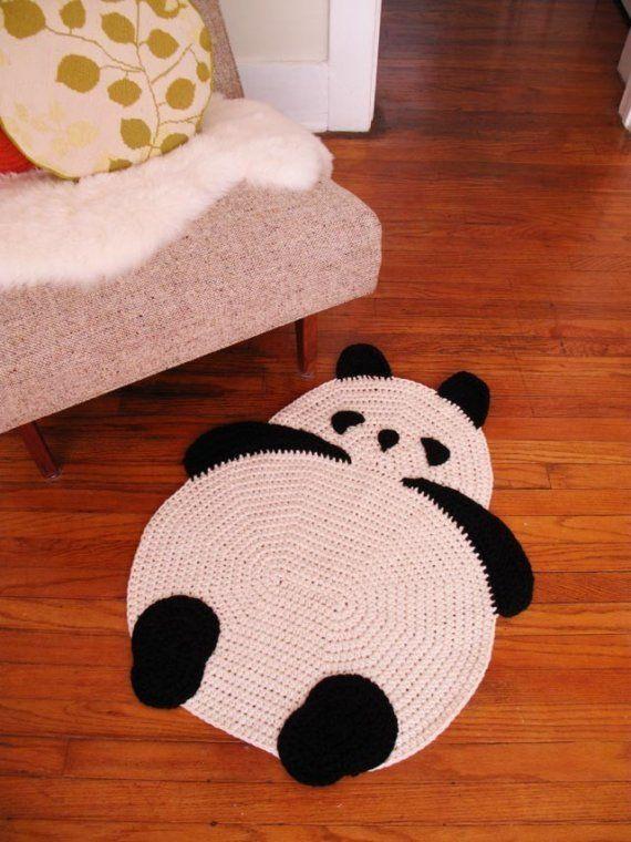 Crocheted panda rug