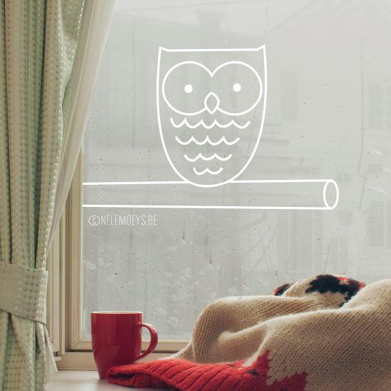 Little owl on a branch #windowdrawing. Super cute in the baby room! #raamtekening