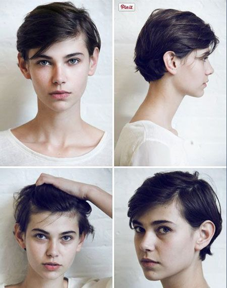 Round Pixie Face Highlights Faces Color Black , Androgynous Haircut