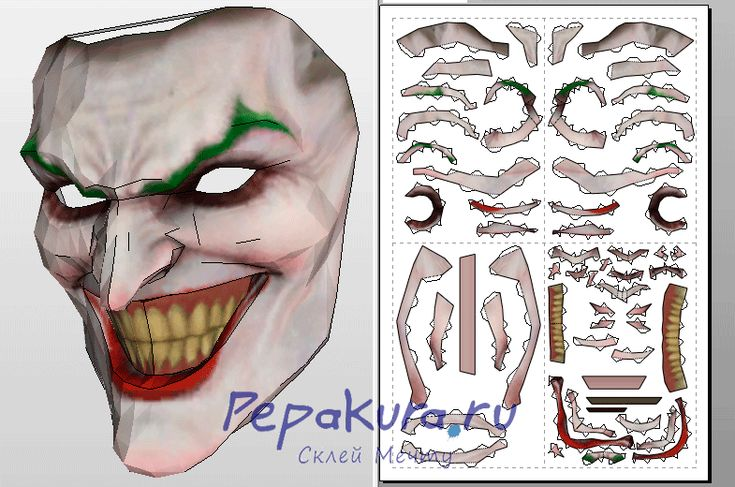 Joker mask pepakura template pepakura pinterest for Joker mask template