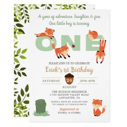 The 25 best first birthday invitations ideas on pinterest girl woodland forest fox first birthday invitation birthday gifts party celebration custom gift ideas diy stopboris Images