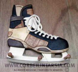 CORBEILINTARSIA.COM Intarsia patterns Hockey skate key holder / Patin de hockey en porte-clé