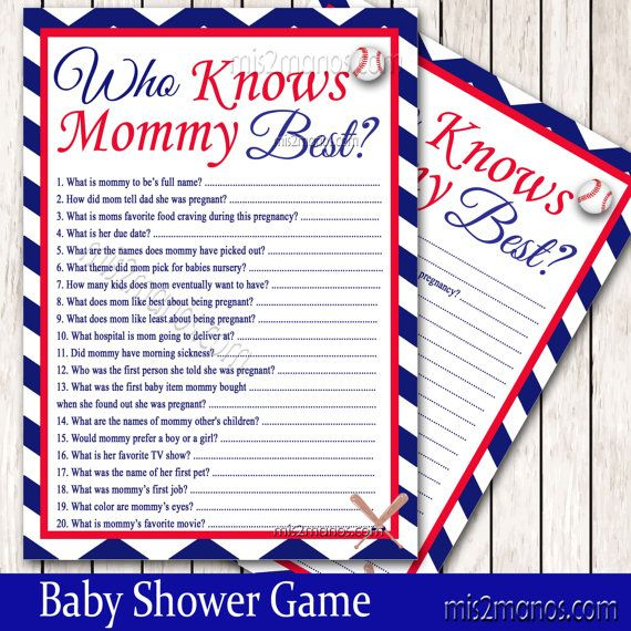 Baseball Baby Shower Who knows Mommy Best Game by M2MPartyDesigns