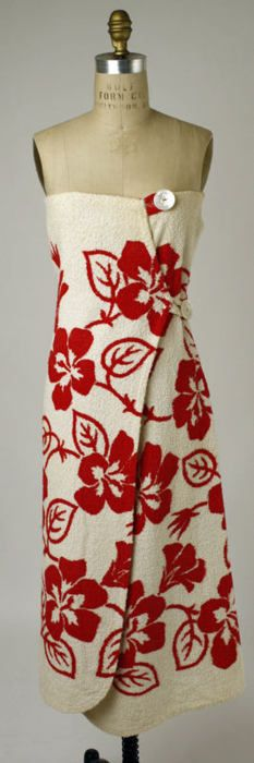 A very cleverly designed towel/beach wrap designed by Gertrude Davenport in 1947.