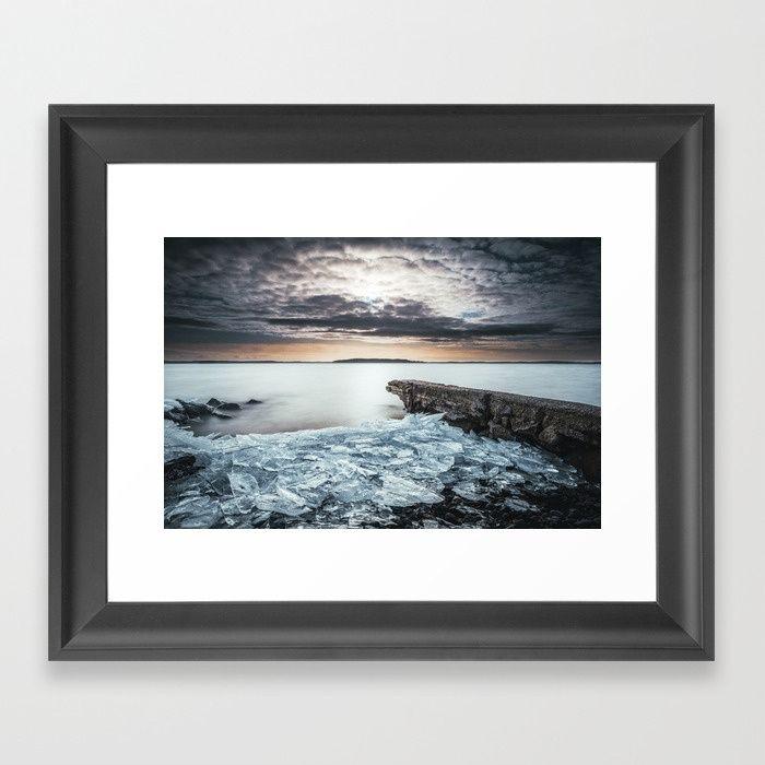 Frozen broken hearts Framed Art Print by HappyMelvin  #nature #wanderlust #winter #ice #wallart #framedprints #prints