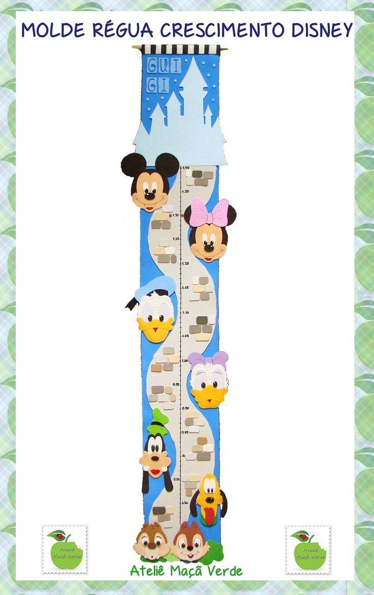 Molde/risco para confecção de régua de crescimento Disney, para utilização em…