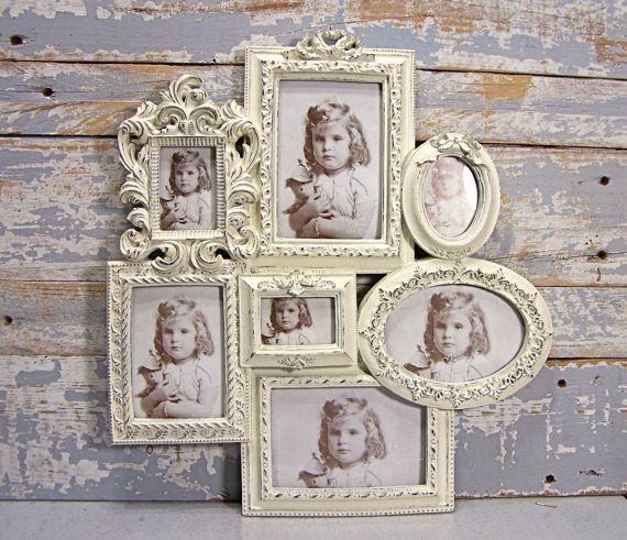 Collage Frame: Large White Wedding Frame Shabby Cottage Chic Wall Decor French Country Decor on Etsy, $74.00