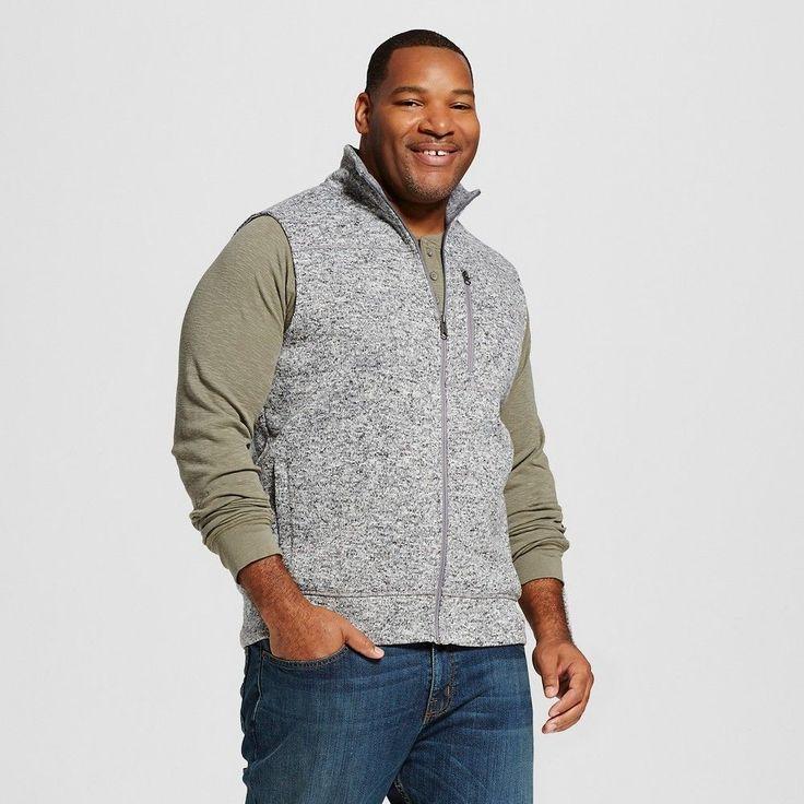 Men's Big & Tall Sweater Fleece Vest Gray XL Tall - Merona