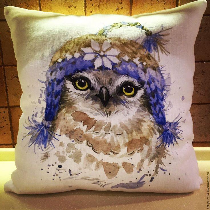 """Купить Подушка декоративная """"Совушки"""" - комбинированный, Подушки, подушки декоративные, подушки диванные, подушка с принтом"""