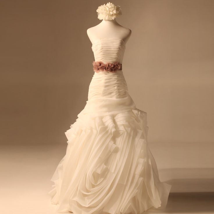 2012 Fall Strapless Organza bridal gown with Dropped waist  Trumpet/Mermaid, Floor Length, Dropped, Chapel Train, Strapless, Sleeveless, Ruffles, Sashes/Ribbon, Lace-Up, Satin Organza, Church, Garden/Outdoor, Hall, Fall, Winter,