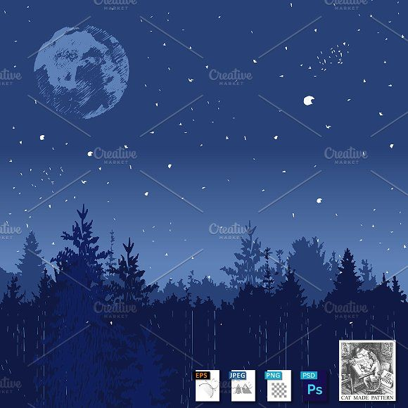 Night forest landscape by CatMadePattern on @creativemarket