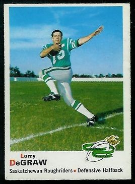 Larry DeGraw 1970 O-Pee-Chee CFL football card