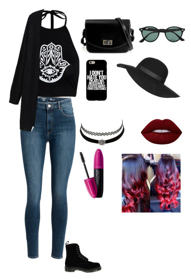 """""""picnic date outfit"""" by mckenzieturner on Polyvore featuring Dr. Martens, Ray-Ban, Topshop, Charlotte Russe, Lime Crime and Revlon"""