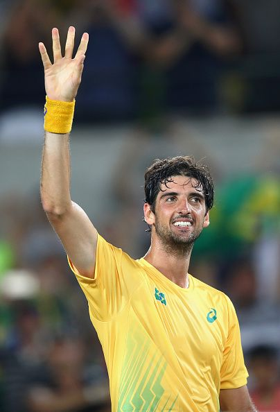 #RIO2016 Thomaz Bellucci of Brazil reacts after defeating Pablo Cuevas of Uruguay in a Men's Singles Second Round match on Day 4 of the Rio 2016 Olympic Games...