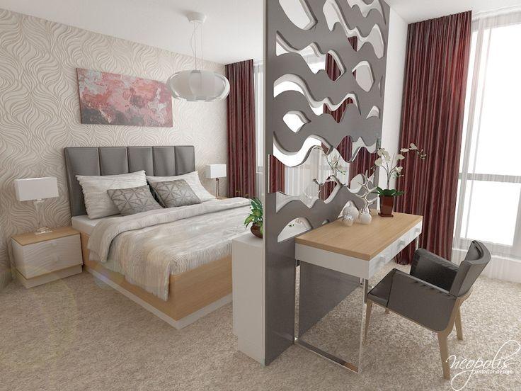 Spálňa s dekoračnou priečkou