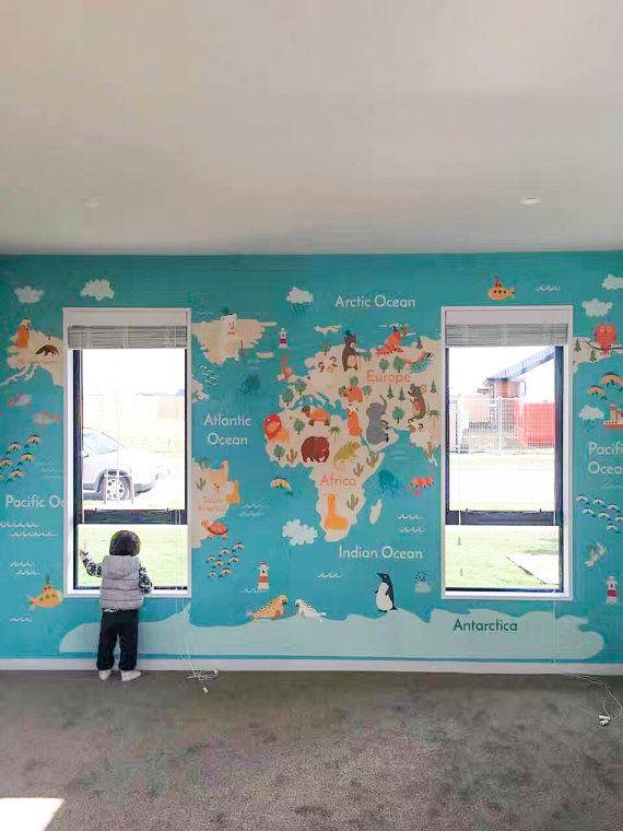 Removable wallpaper, peel and stick wallpaper, World map wallpaper