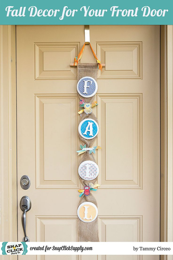 Hybrid fall door decor by designer Tammy Circeo featuring the Outdoors kit by Mye De Leon available at www.snapclicksupply.com #hybridcraft #snapclicksupply
