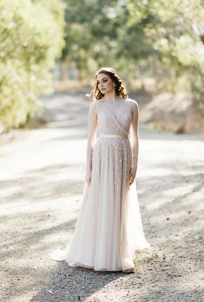 Gigi - boho wedding gown, Beaded wedding gown, cross over front wedding gown…