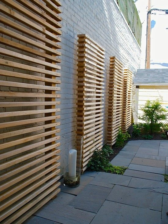 Exterior Design, Cool Wooden Contemporary Landscape Garden Screening Ideas With Gray Bricks Wall Color Also Modern Stones Flooring Design Also Unique Glass Candle Holder With Huge White Candle Also Green Garden Plants: Garden Room Designs for Extra Pleasure in the Secluded Backyard