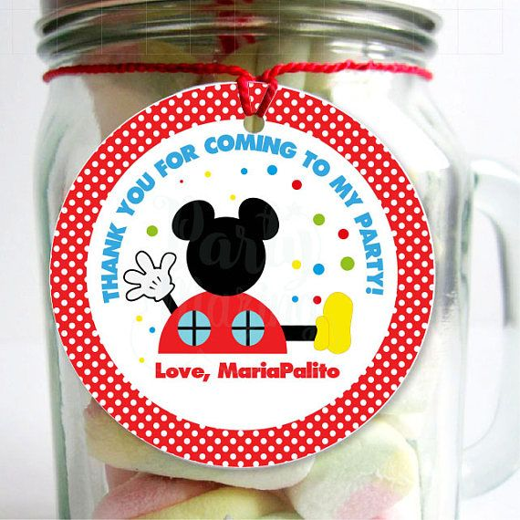 Editable Mickey Tags Printable Stickers Thank You Party Favor Tag Cupcake Topper…