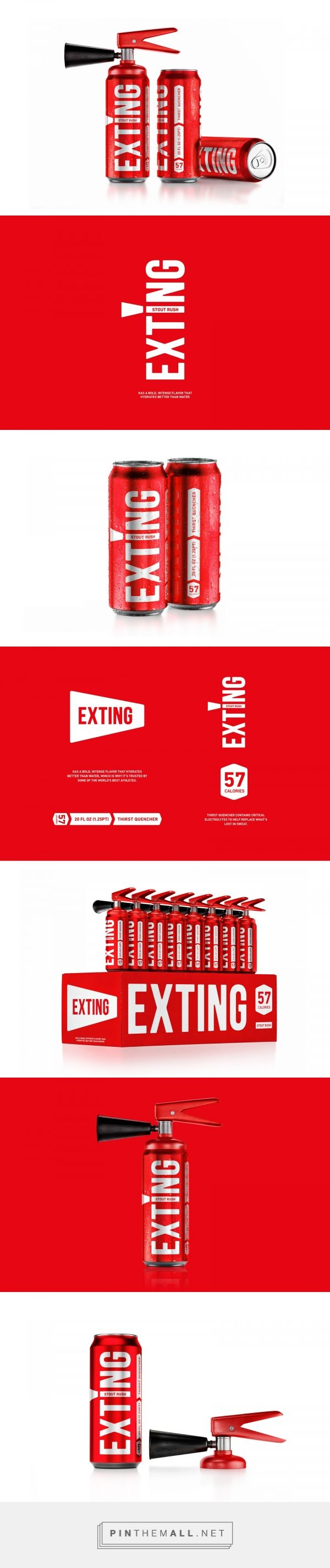 Exting energy drink packaging design by Reynolds and Reyner - http://www.packagingoftheworld.com/2018/01/exting.html