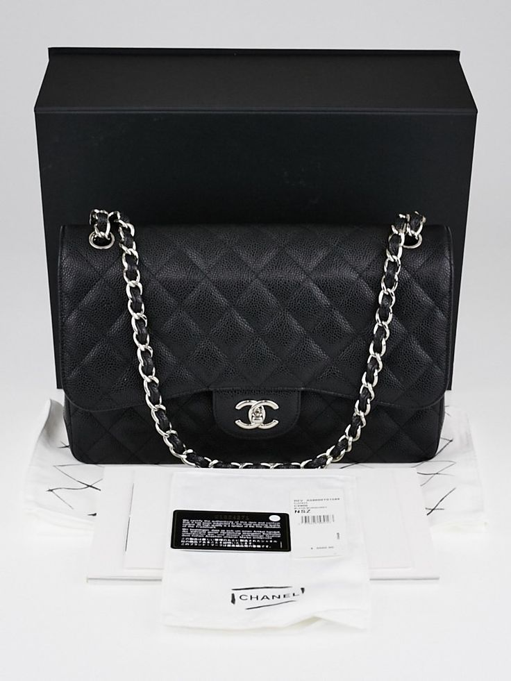 Chanel Black Quilted Caviar Leather Classic Jumbo Double Flap Bag - Yoogi's Closet