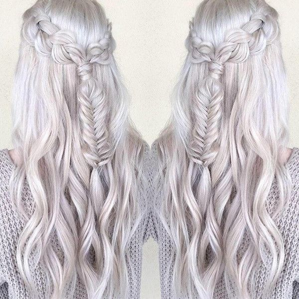 Silver hair color wirh braids of our real girls, wonderful princess hairstyle, silver is a so good hair color choice