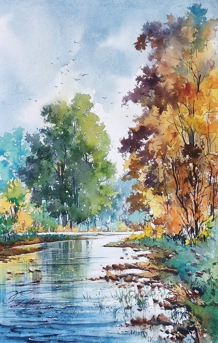 Untitled Watercolor Landscape Paintings Watercolor Scenery