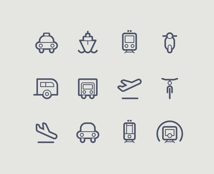 transportation icons contour outline set