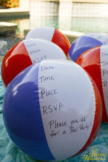 Birthday Pool Party Invitations | The Bubbly Hostess