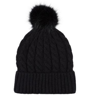 - Cable knit design- Faux fur bobble top- Soft finish