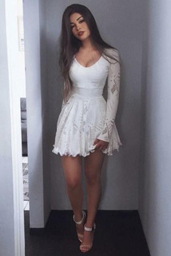 Excellent Long Sleeves Homecoming Dresses Prom Dresses