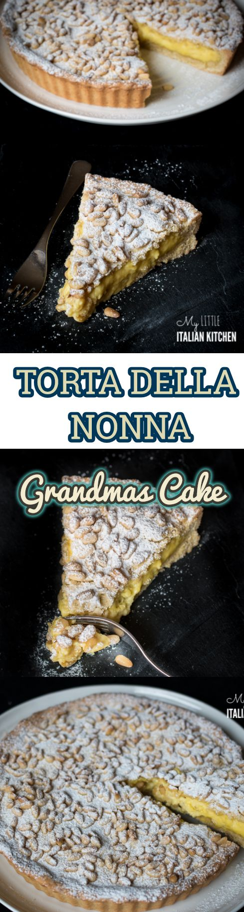 "A delicious perfumed lemon custard wrapped around a crumbly and delicate pastry and finished off with crunchy pinenuts: this is ""La torta della nonna"" or Grandma's cake."