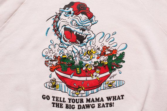 Georgia Bulldogs Rivals Sweatshirt, Go Tell Your Mama What the Big Dawg Eats, Vintage 80s, Raglan Shirt