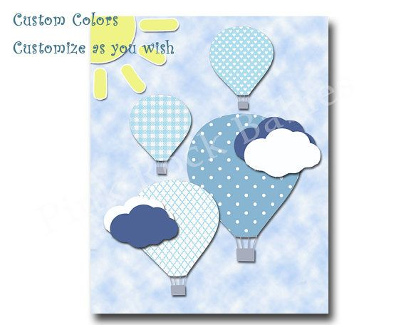 Children room decor Kids wall art blue hot air by PinkRockBabies
