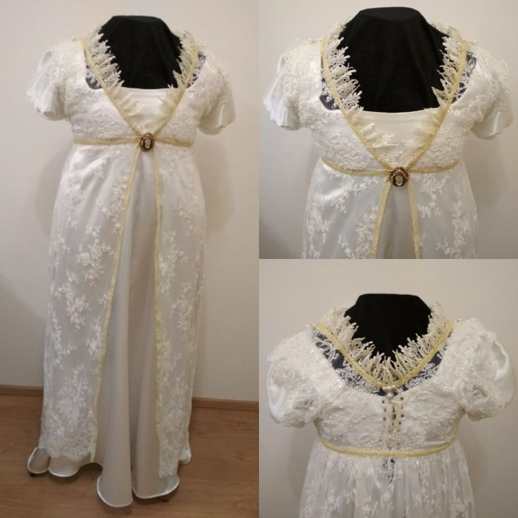 White regency sateen gown with lace over bodice